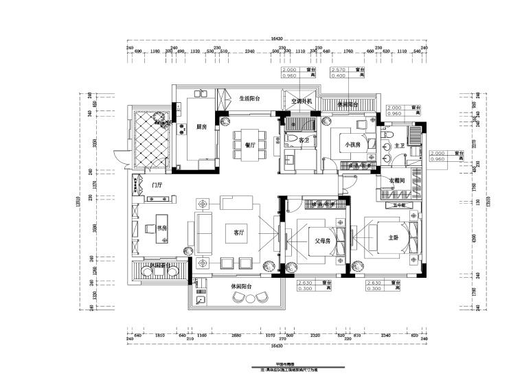 滨湖假日金榈园三居室住宅装修施工图