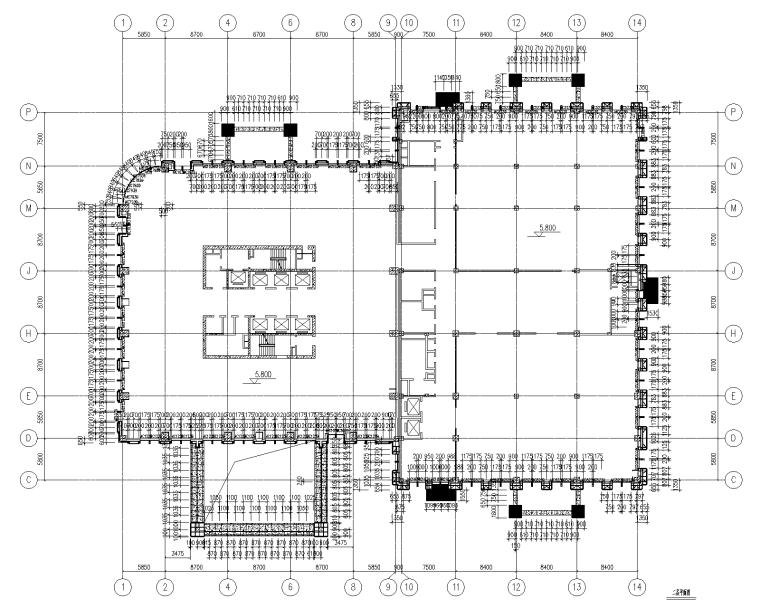4层贸易大厦幕墙施工图_石材铝板幕墙2015-幕墙二层平面图