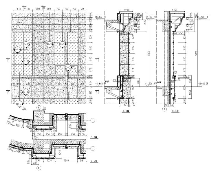 4层贸易大厦幕墙施工图_石材铝板幕墙2015-幕墙大样图1