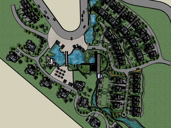 带水景别墅区建筑SU模型6