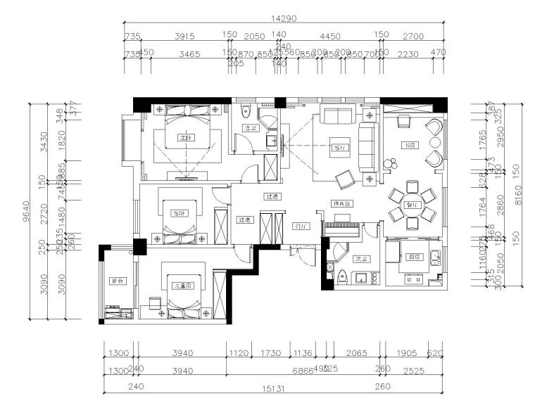 三居室歐式風格私人住宅裝修施工圖+效果圖