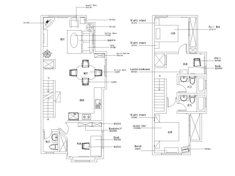 美式风格两居室住宅装修施工图+效果图