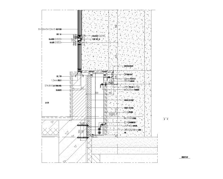 4层贸易大厦幕墙施工图_石材铝板幕墙2015-幕墙竖剖节点图