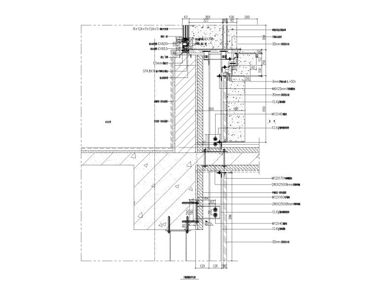 4层贸易大厦幕墙施工图_石材铝板幕墙2015-门窗幕墙竖剖节点