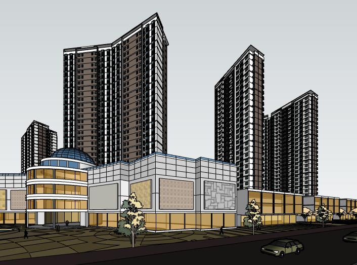 带水景高层小区住宅建筑模型设计