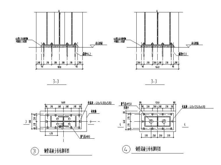 钢骨混凝土梁柱节点详图CAD