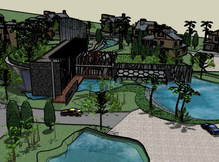 带水景别墅区建筑SU模型2