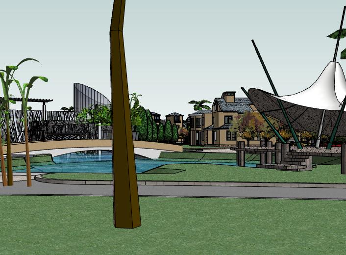 带水景别墅区建筑SU模型3