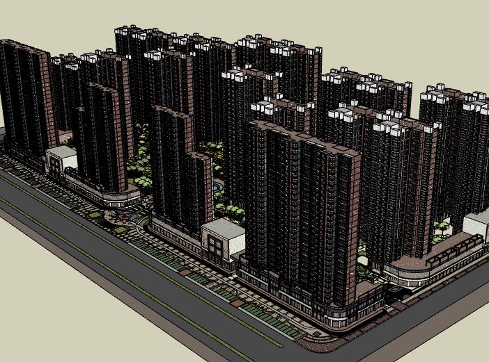 某高层住宅小区楼盘建筑模型设计