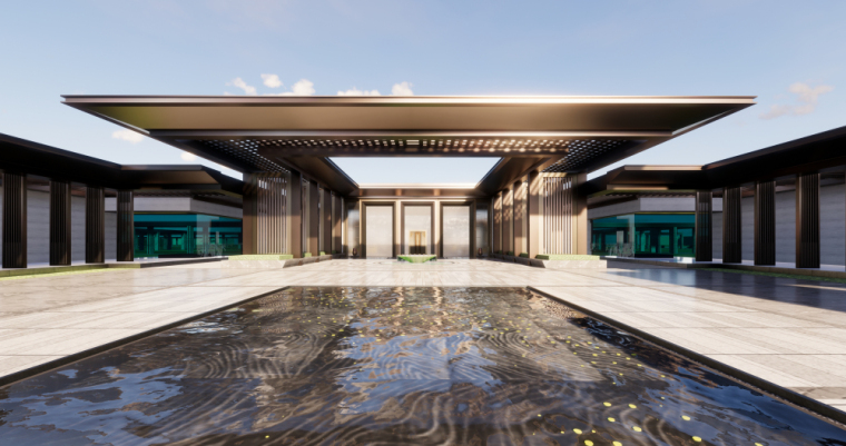 [四川]新中式风格示范区售楼处建筑模型