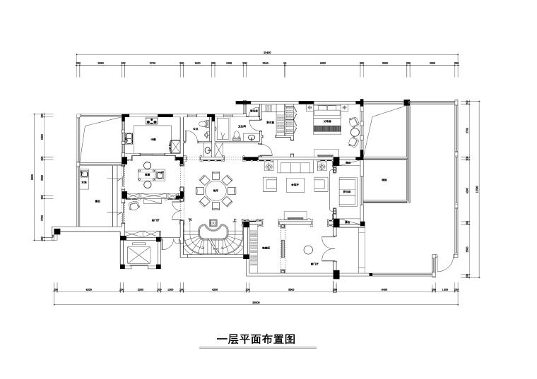 500平米美式新古典风格跃层公寓装修施工图