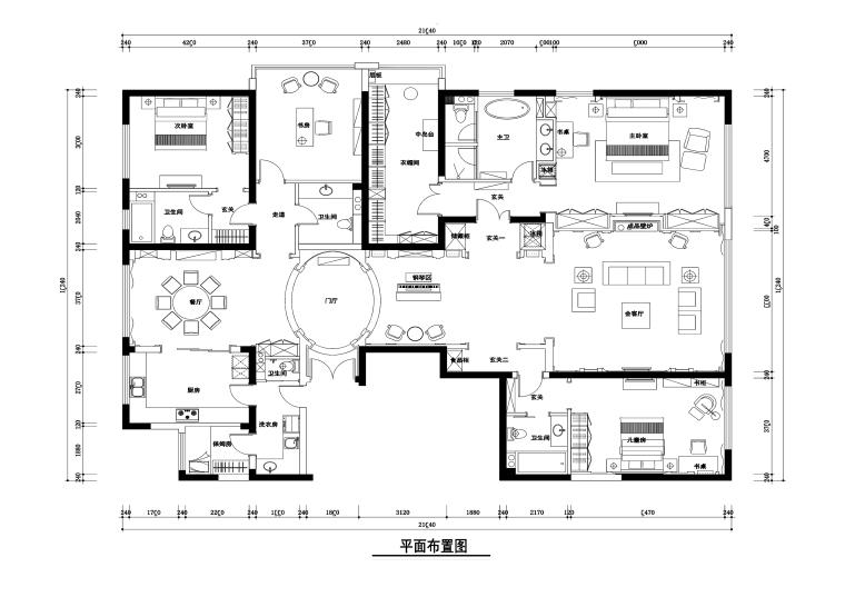 北京西山一号苑300平公寓装修施工图+效果图