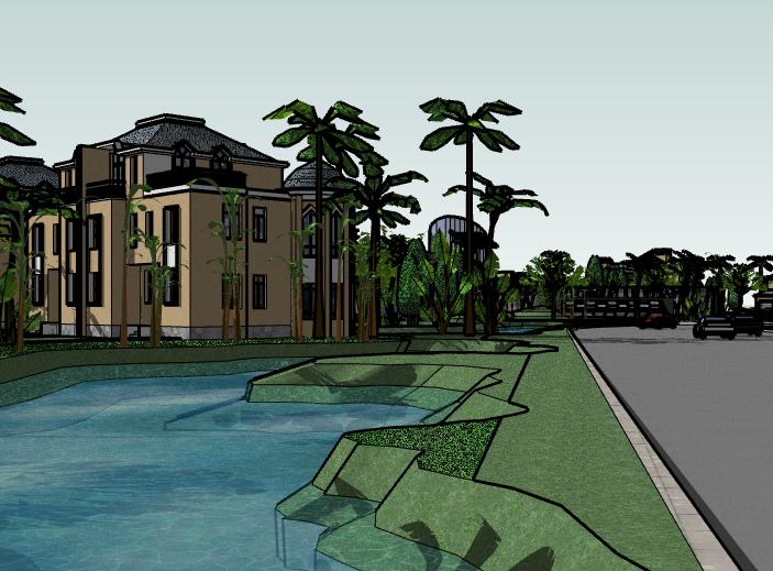 带水景别墅区建筑SU模型4