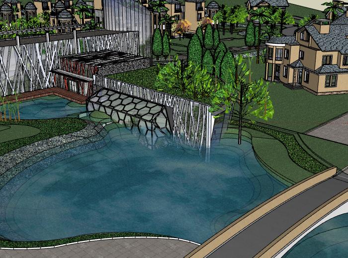 带水景别墅区建筑SU模型5