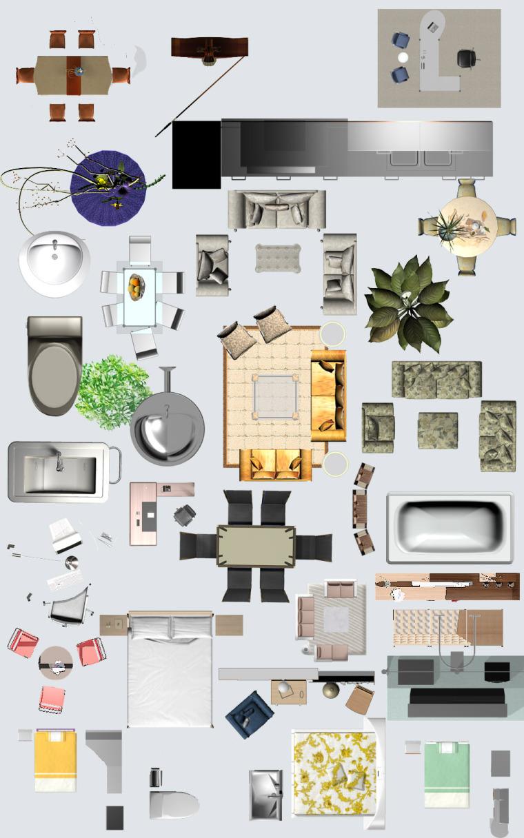 家装彩平图psd素材合集_家具、电器、配饰