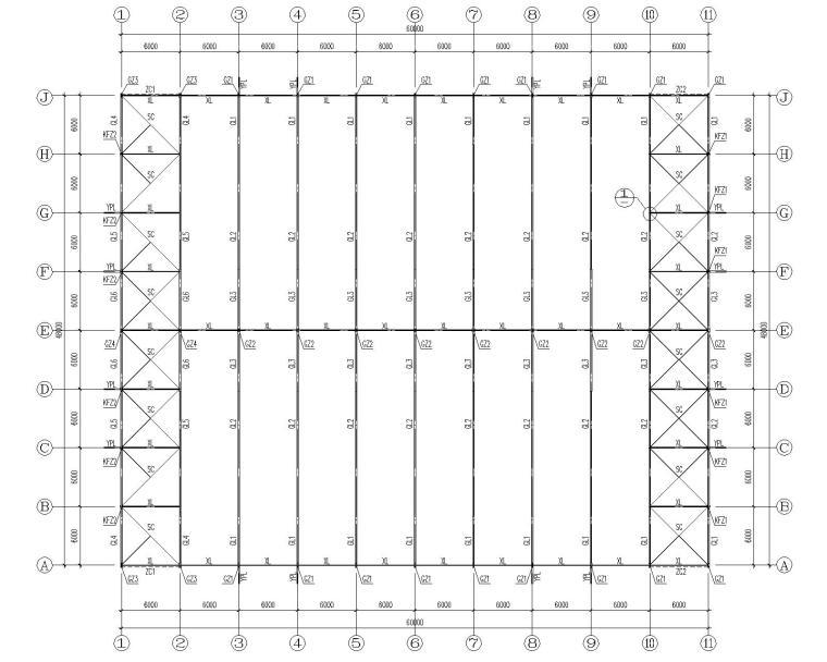 48米多跨带夹层钢结构厂房结构施工图CAD