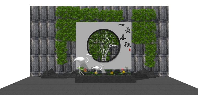 新中式禅意日式枯山水园艺小品庭院景观_3