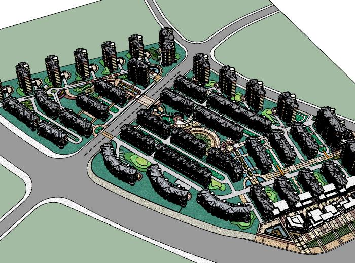 某欧陆风格多层住宅小区建筑模型设计