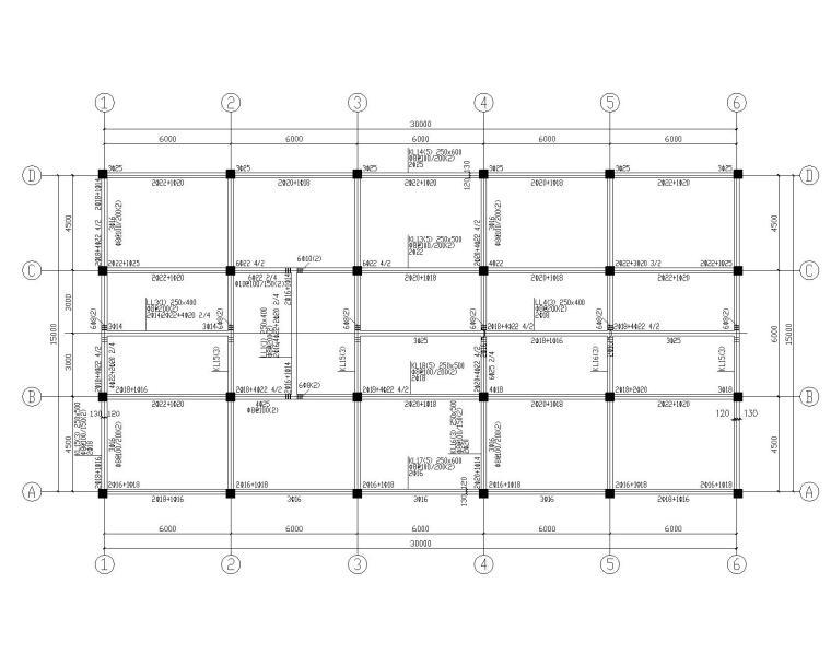 三层饭店框架结构施工图(CAD含建筑图)