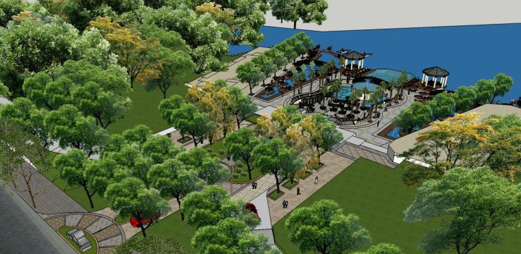 现代欧式城市滨水景观su模型