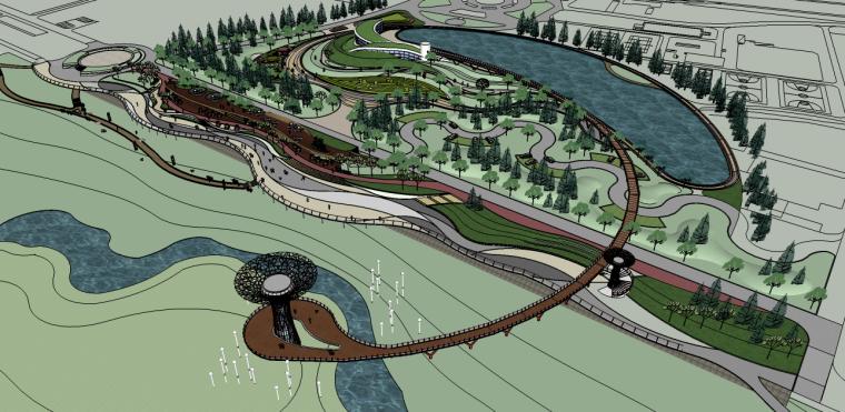 大型城市河滨景观绿化su模型