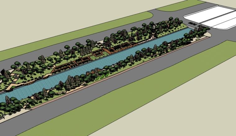 沿河道滨水休闲景观su模型