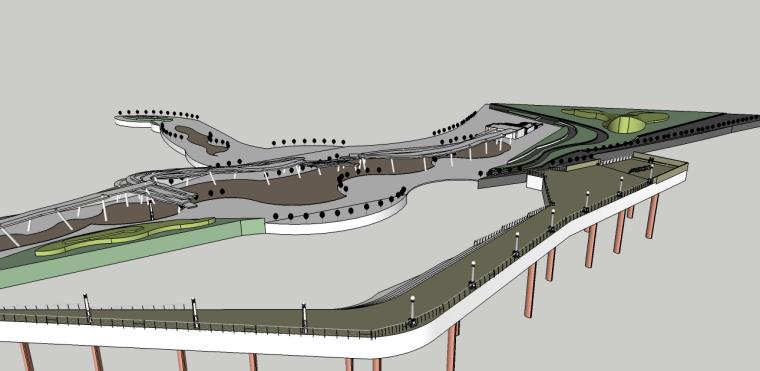 曲线滨水景观桥su模型