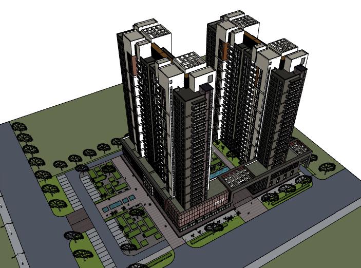 现代风格高层公寓建筑模型设计