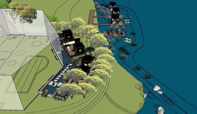 滨水会所前景观su模型