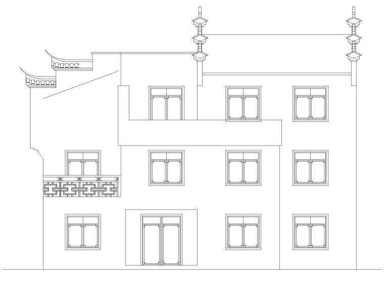 大圩镇新农村徽派别墅图纸CAD
