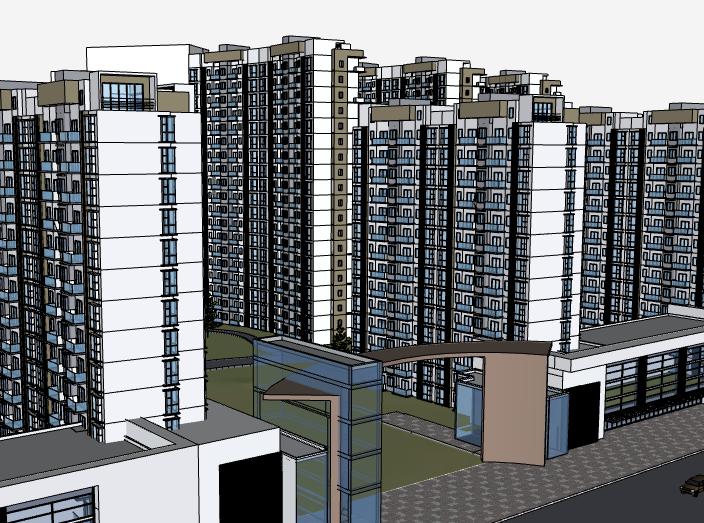 某高层住宅楼盘建筑模型设计_带周围环境