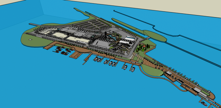中式滨水码头景观su模型