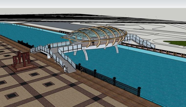 现代滨水景观su模型