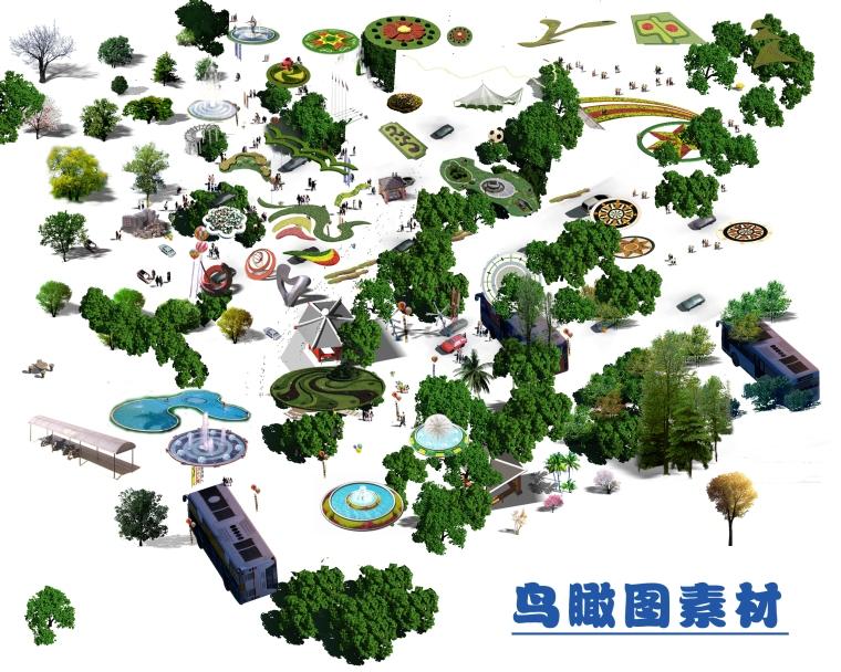 景观鸟瞰植物PS素材(3)