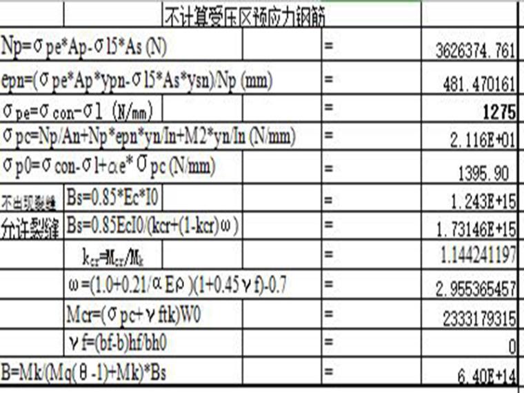 受压区预应力钢筋挠度计算(excel)