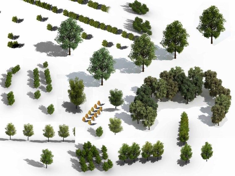 景观鸟瞰植物PS素材(4)