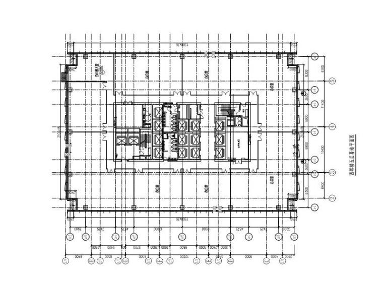29层超高层商业办公楼玻璃幕墙施工图2015-西塔楼五层幕墙平面图