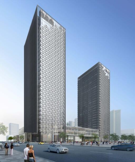 29层超高层商业办公楼玻璃幕墙施工图2015-建筑幕墙效果图