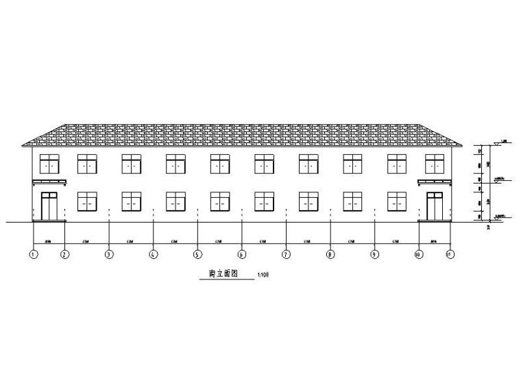 2層坡屋頂磚混結構職工宿舍建筑結構施工圖