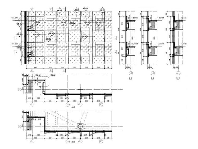 29层超高层商业办公楼玻璃幕墙施工图2015-幕墙大样分格图3