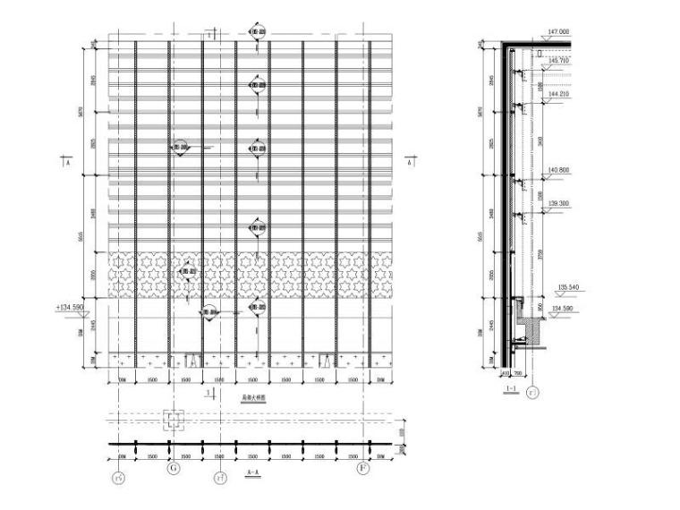 29层超高层商业办公楼玻璃幕墙施工图2015-幕墙大样分格图2