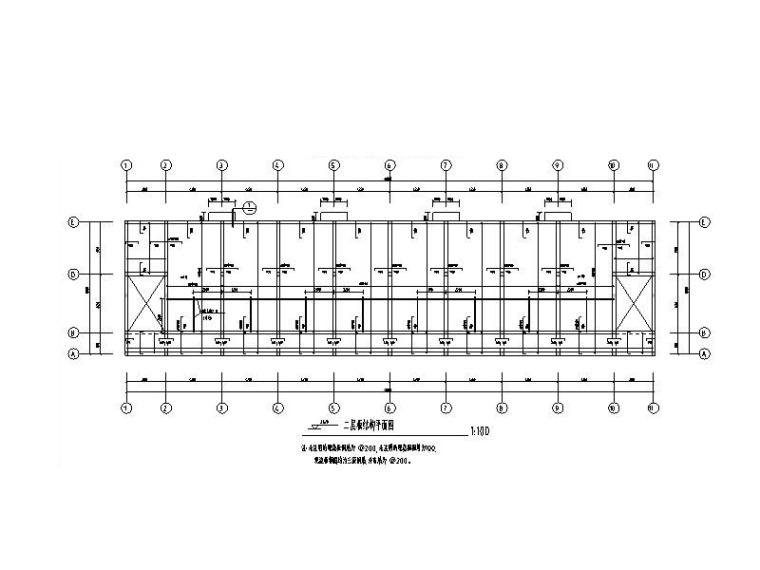 职工宿舍二层板结构平面图