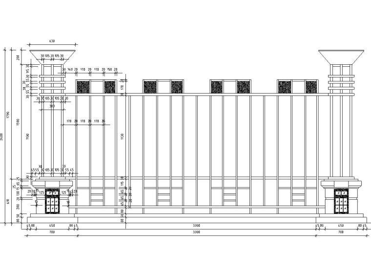 园林景观节点详图围墙施工图设计二