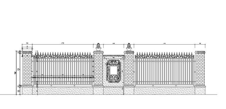 园林景观节点详图围墙施工图设计七