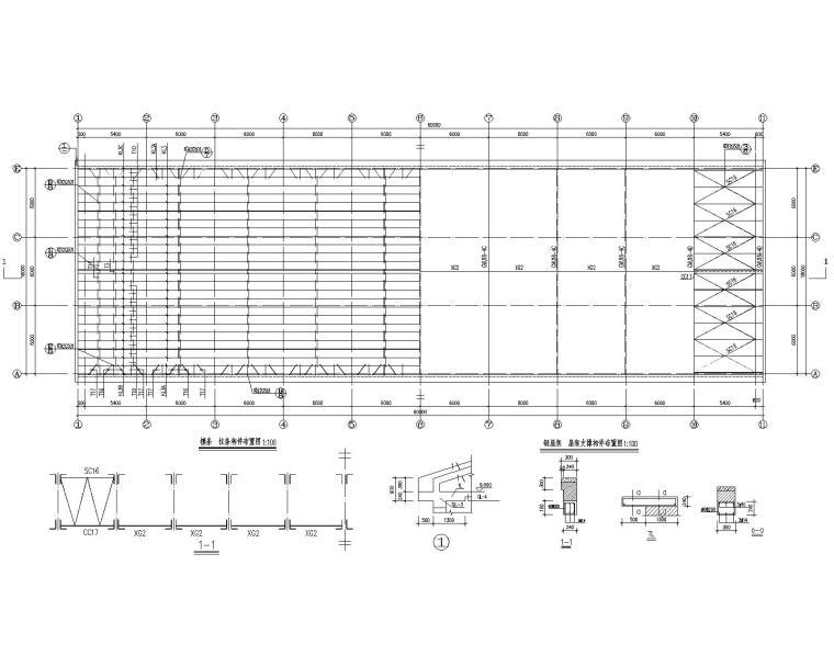 某三层排架结构厂房建筑结构施工图(CAD)