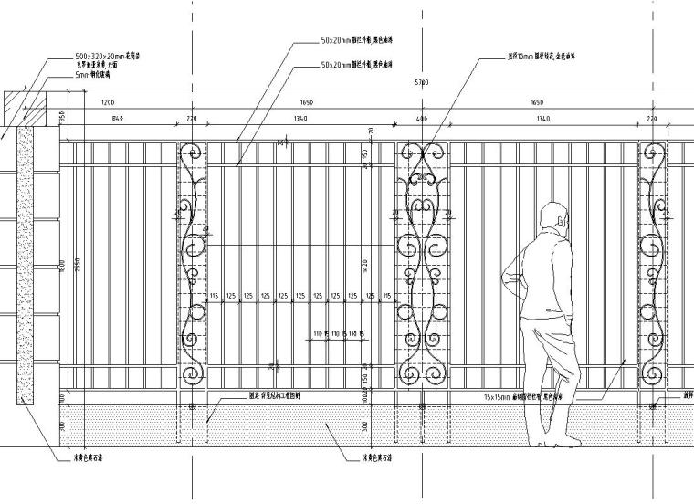 园林景观节点详图围墙施工图设计三