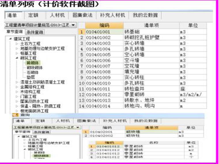 砌体工程的清单列项和定额组价