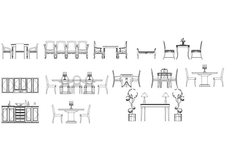欧式室内装饰,纹理样式图块(床,桌椅等)