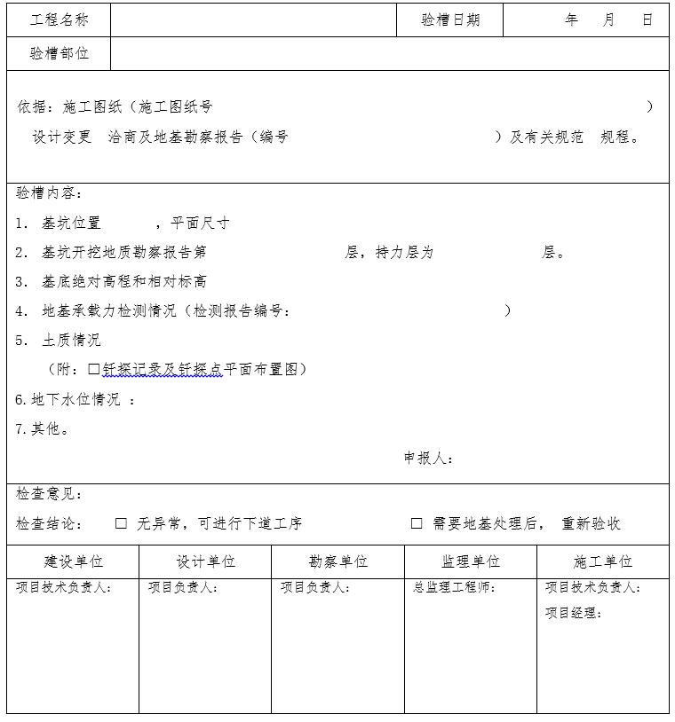 [济南]市政工程竣工验收记录表格