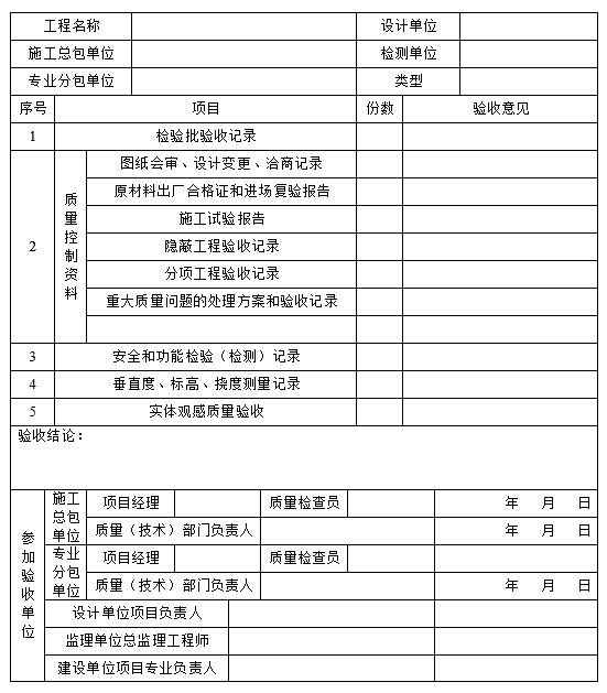 钢结构分项工程通用检验验收记录表